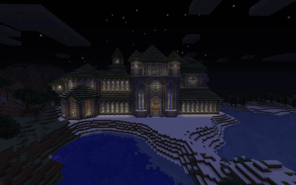 Nighttime view of Minecraft Castle