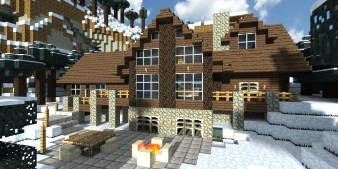 minecraft log cabin house