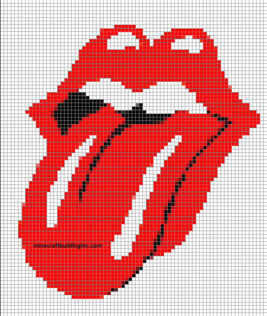 Rolling Stones Tongue Minecraft template pixle