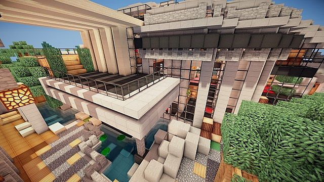 Luxurious Modern House 2 minecraft build ideas 9
