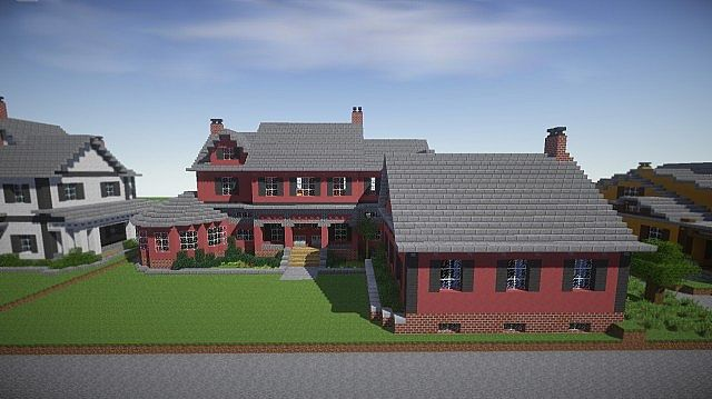 Red Old Mansion Minecraft building ideas 3