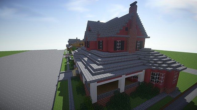 Red Old Mansion Minecraft building ideas 4