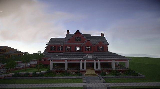Red Old Mansion Minecraft building ideas 5