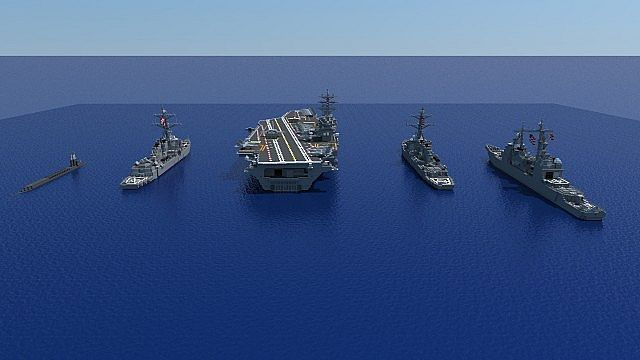 carrier strike group batttleships ships minecraft building ideas ocean sea 2