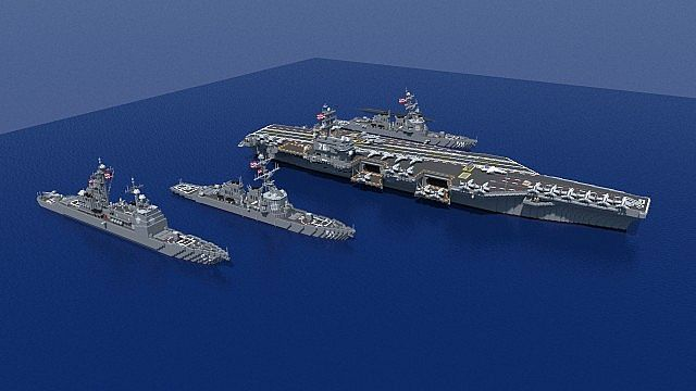 carrier strike group batttleships ships minecraft building ideas ocean sea 3