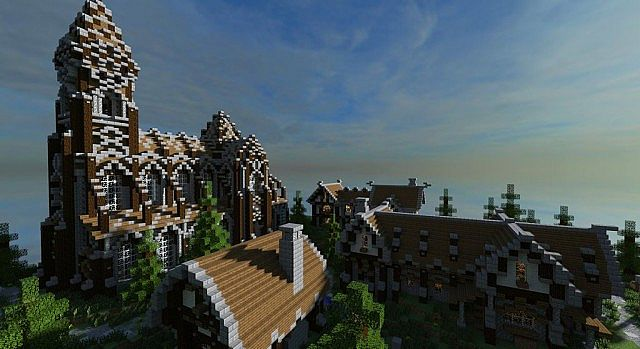 Medieval Castle and Village minecraft building ideas 11