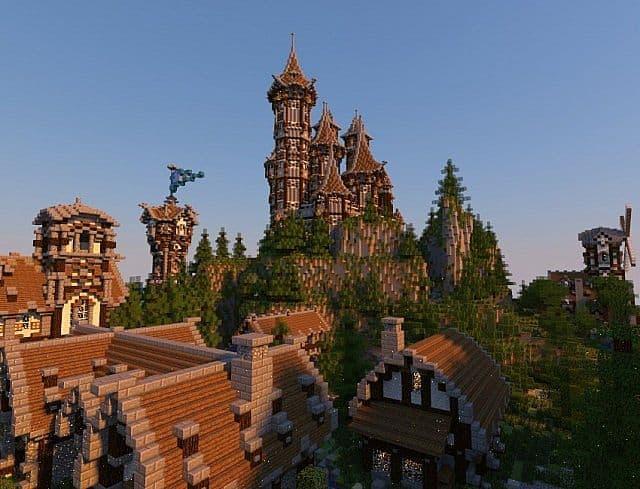 Medieval Castle and Village minecraft building ideas 12