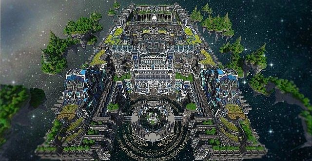 Center of valhalla flying fortress minecraft building inc for Fortress build