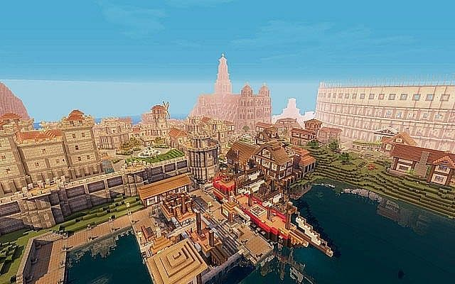 Medieval Fantasy world minecraft building town port ideas