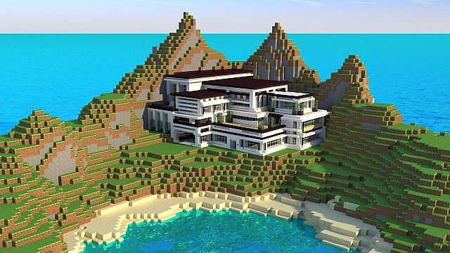 Modern Mansion Cliff Side Escape Minecraft Building Inc