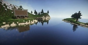 Medieval House on a little Island minecraft ideas 2