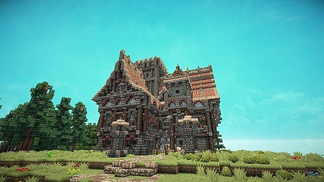 Medieval Mansion minecraft building ideas 3