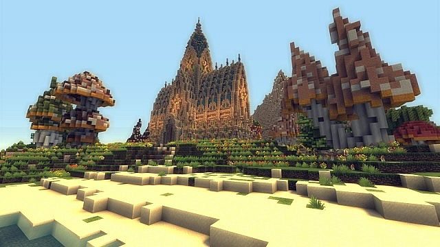 Mushroom Island Cathedral custom terrain minecraft building ideas 2