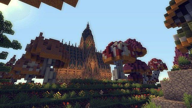 Mushroom Island Cathedral custom terrain minecraft building ideas 3