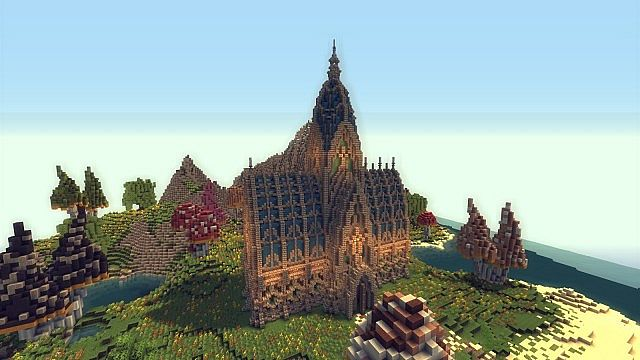 Mushroom Island Cathedral custom terrain minecraft building ideas 4