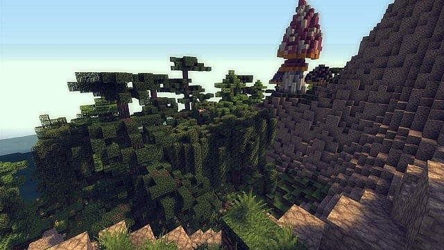 Mushroom Island Cathedral custom terrain minecraft building ideas 8