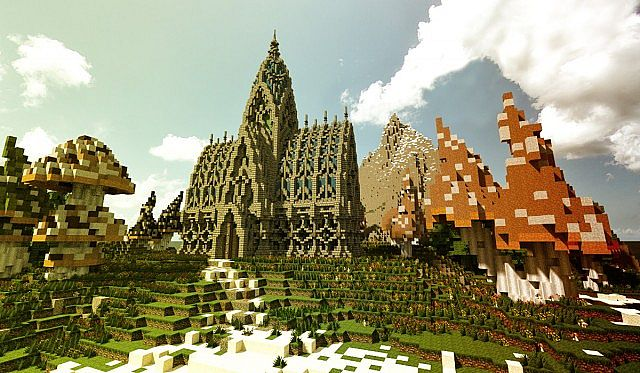 Mushroom Island Cathedral custom terrain minecraft building ideas