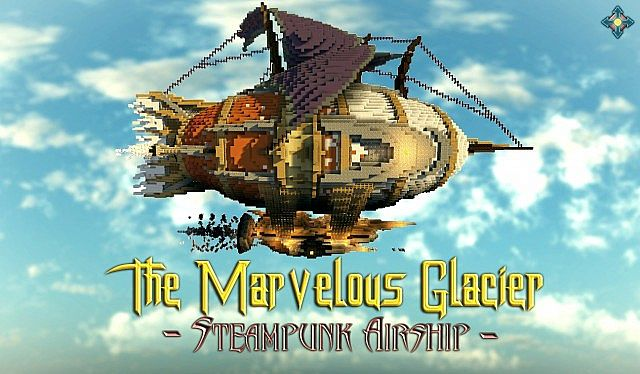 The Marvelous Glacier Steampunk Airship minecraft building ideas
