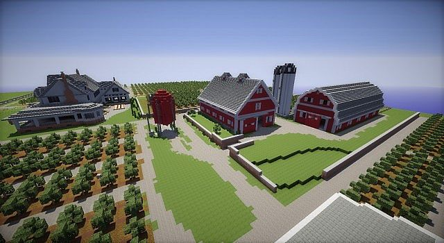 Minecraft Farm house red barn fields building ideas 5