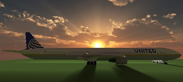 Boeing 777 200 United Airlines minecraft building ideas airport plane 2