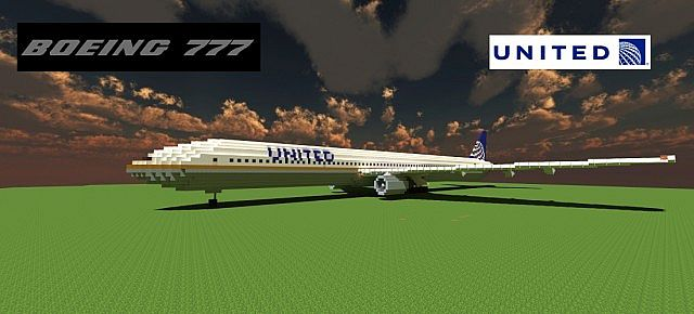 Boeing 777 200 United Airlines minecraft building ideas airport plane