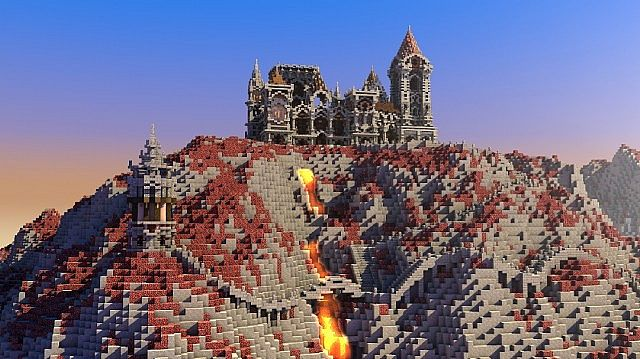 Fargloom Fortress minecraft building ideas moutain midevil lava