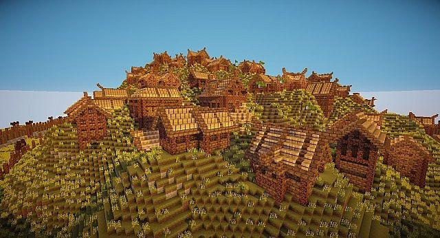 Edoras - Capital of Rohan minecraft building ideas city hill mountain 4