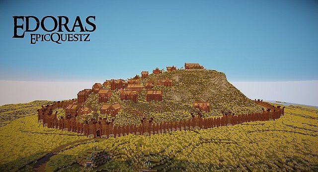 Edoras - Capital of Rohan minecraft building ideas city hill mountain