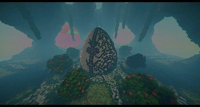 Huevo Custom Terrain Organic egg island big building ideas minecraft 2