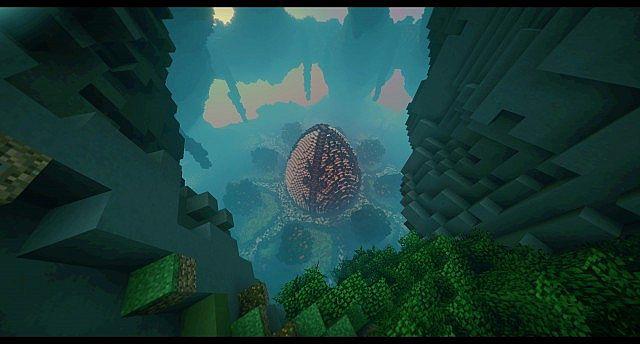 Huevo Custom Terrain Organic egg island big building ideas minecraft 3