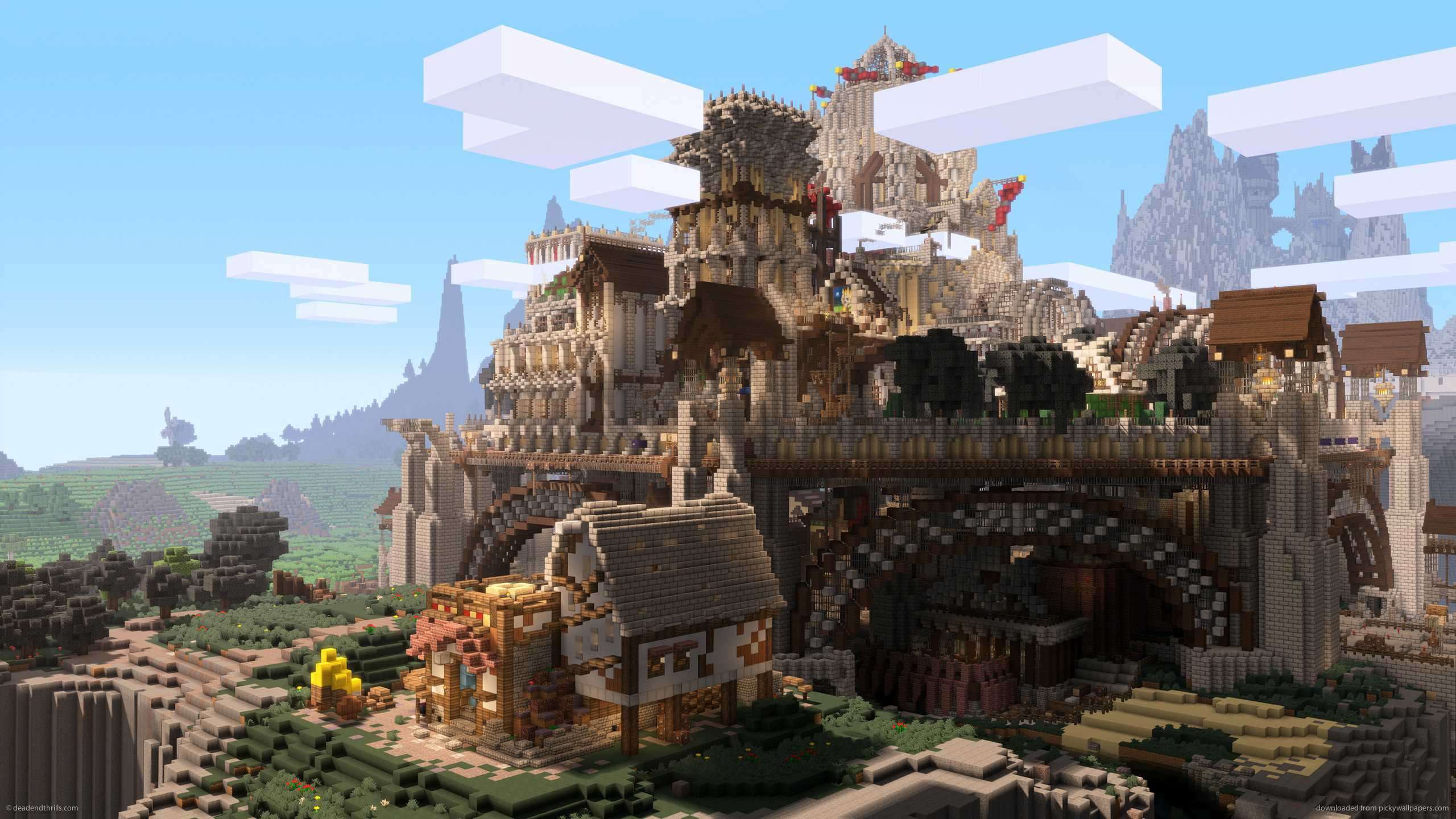 Minecraft city castle background wallpaper