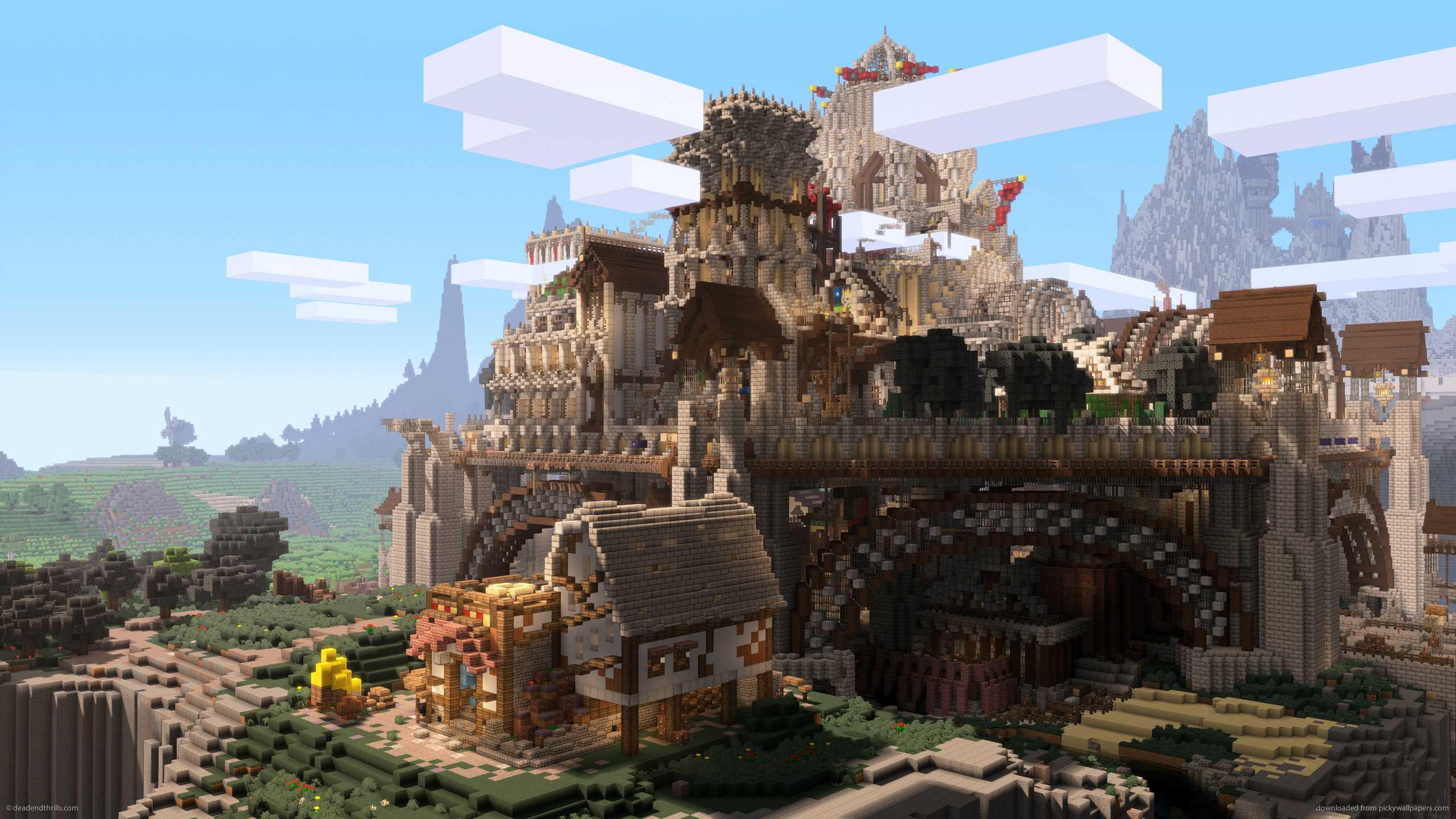 Minecraft city castle background wallpaper
