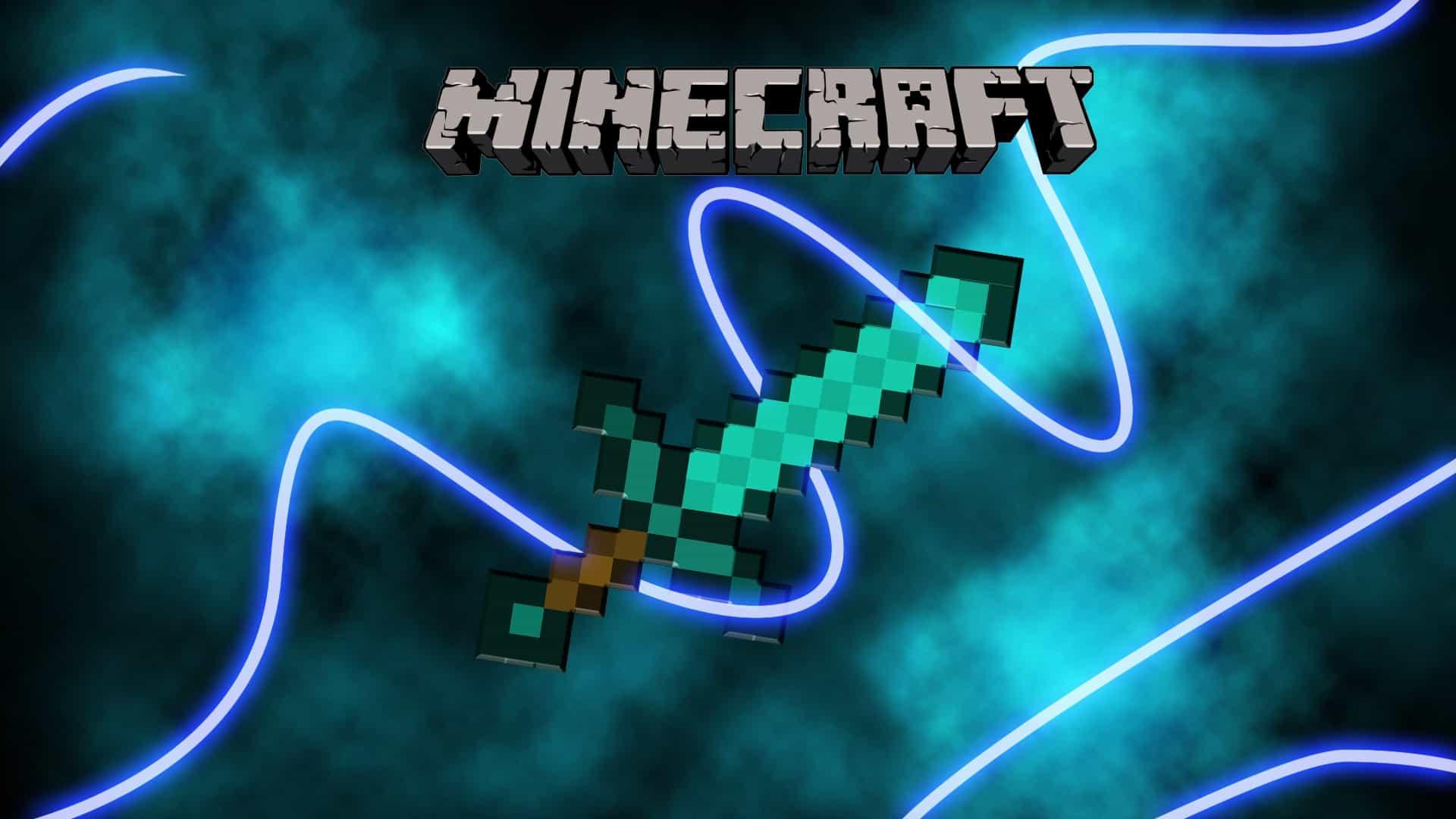 Minecraft diamond sword wallpaper glow electric