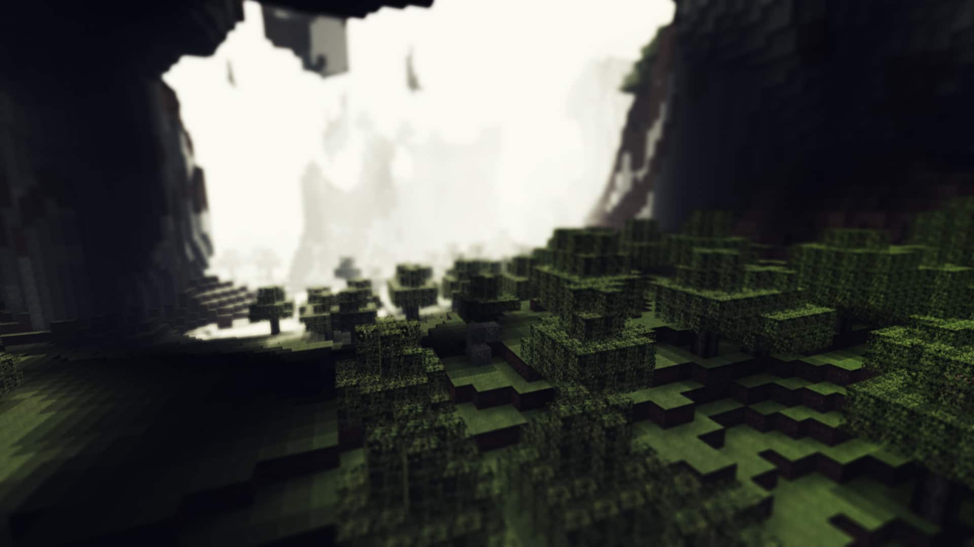 Minecraft fog visibaility view cave trees