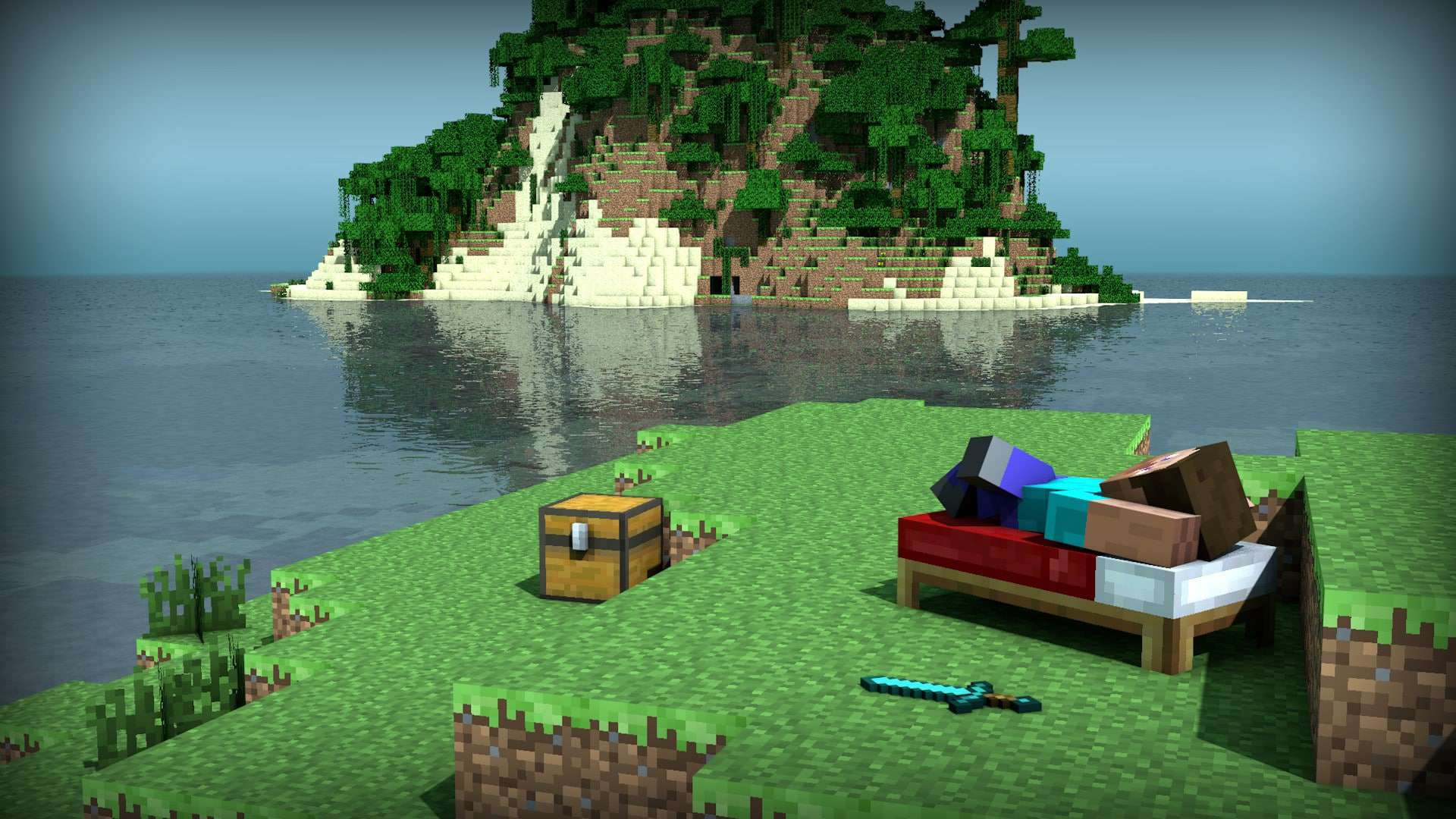 Minecraft steve relaxing on beach wallpaper