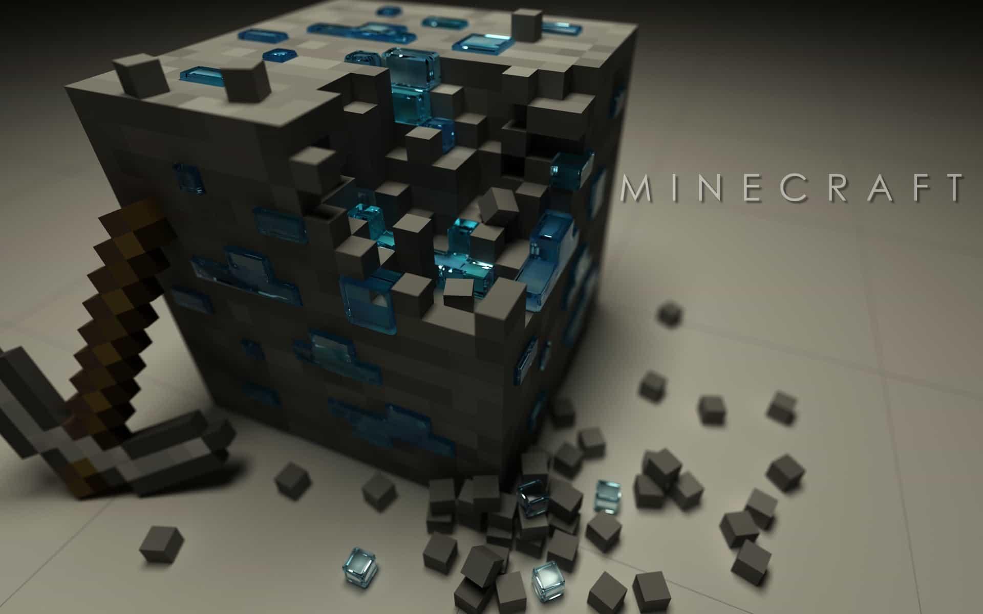 Minecraft wallpaper block picked desktop