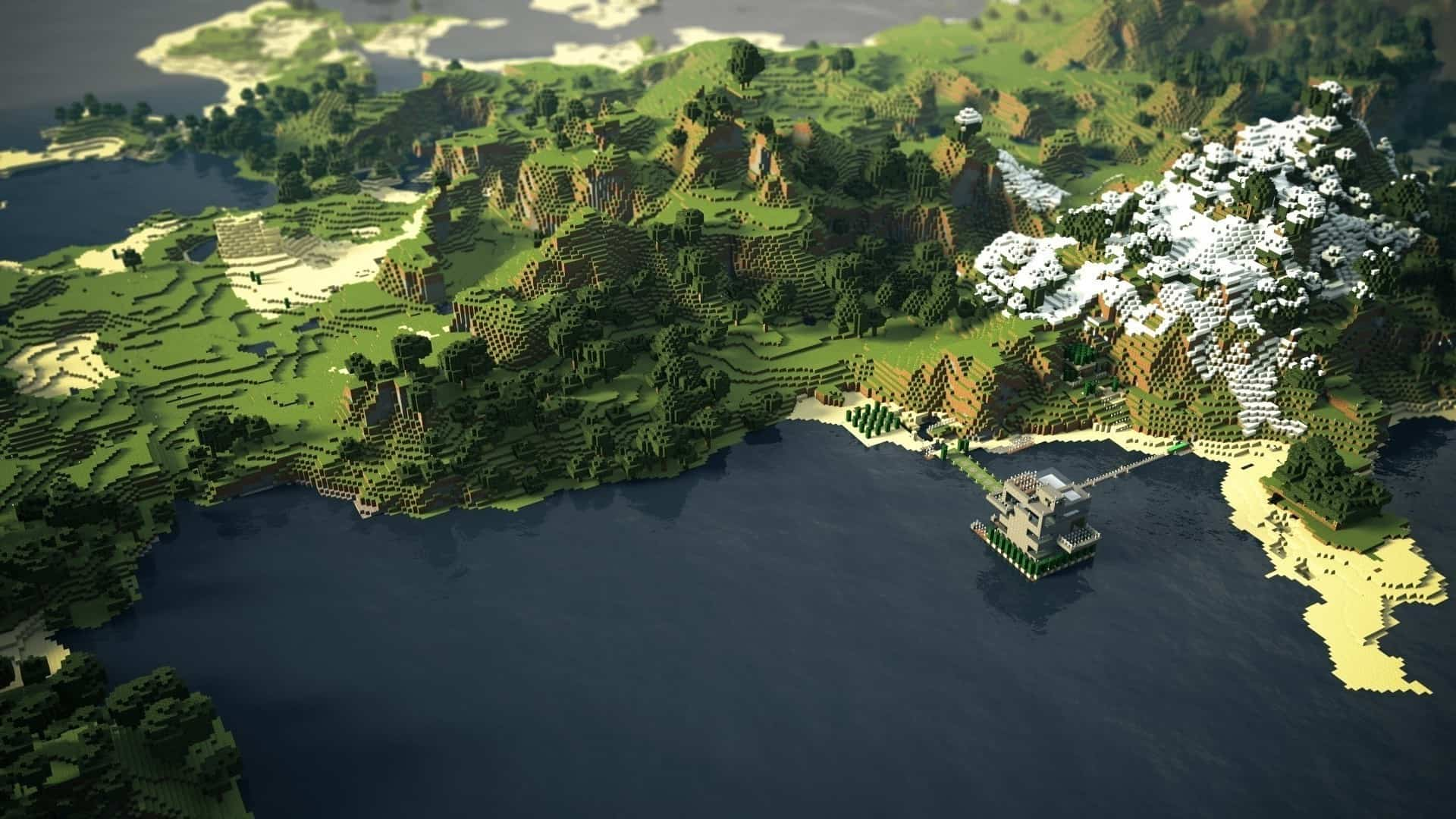 Minecraft wallpaper city small town overview