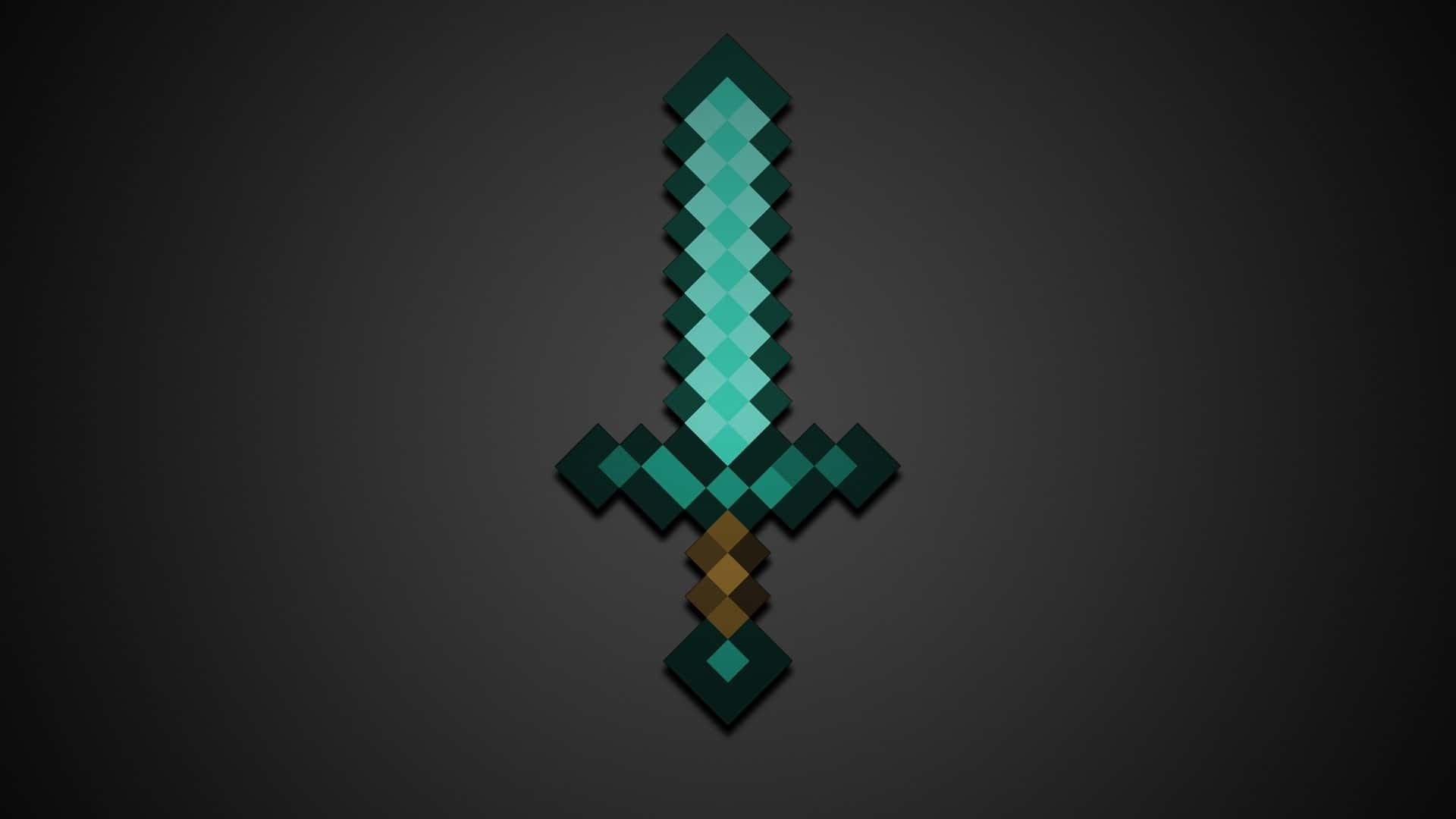 Minecraft wallpaper diamond sword background gray