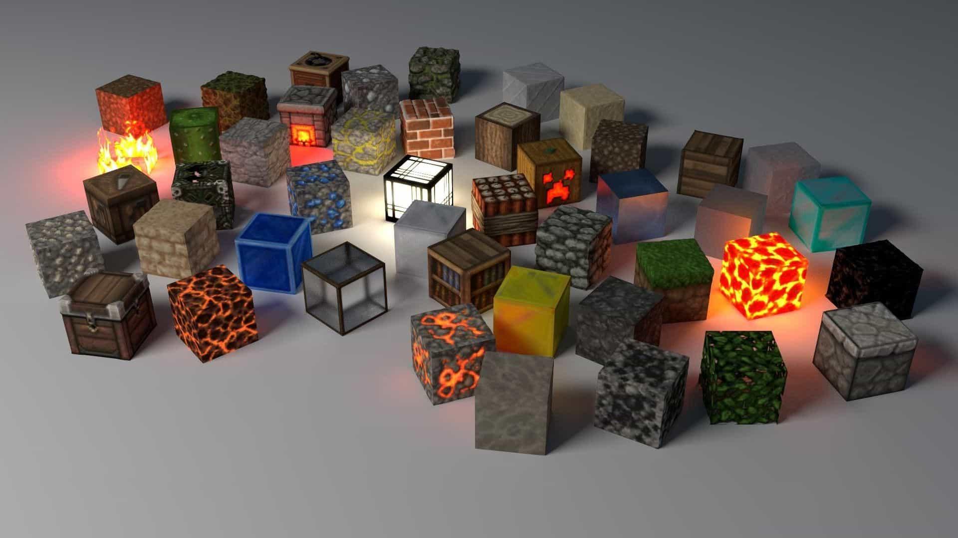 Minecraft wallpapwer glow blocks texture pack resource