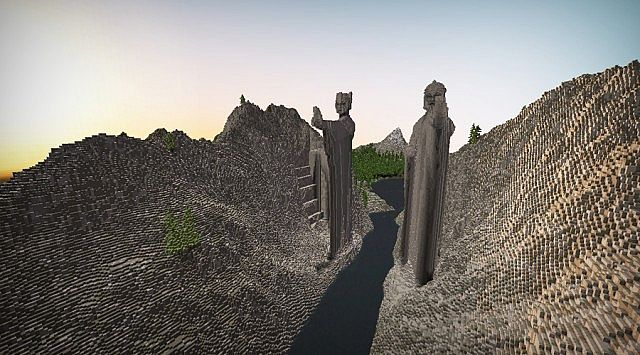 Argonath - The Gate of Kings Minecraft gateway brick build ideas lord of the rings
