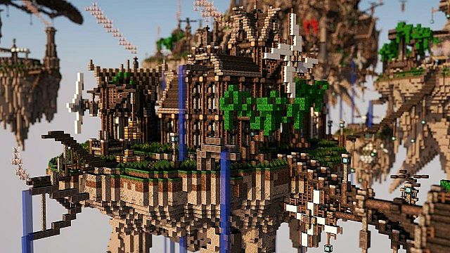 Blackwind Metropolis A City in the Sky floating minecraft building inspiration 12