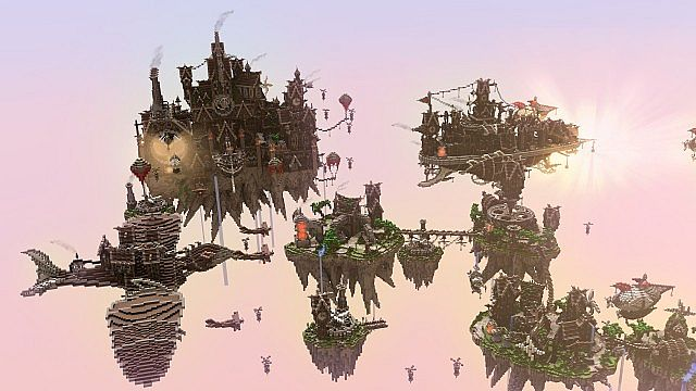 Blackwind Metropolis A City in the Sky floating minecraft building inspiration 13