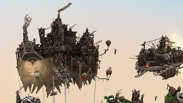 Blackwind Metropolis A City in the Sky floating minecraft building inspiration 14