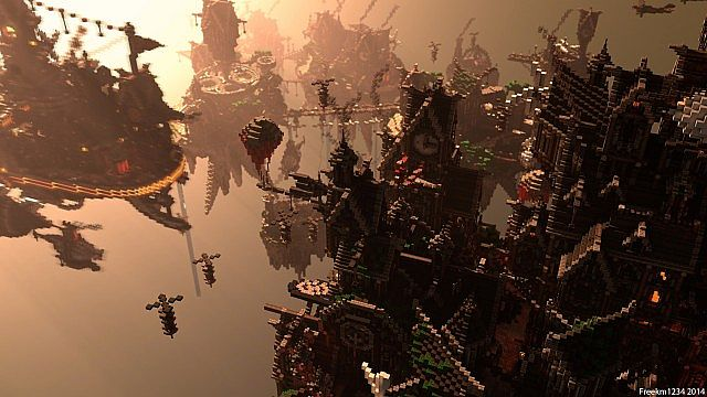 Blackwind Metropolis A City in the Sky floating minecraft building inspiration 2