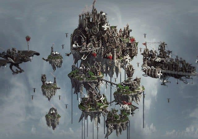 Blackwind Metropolis A City in the Sky floating minecraft building inspiration 5