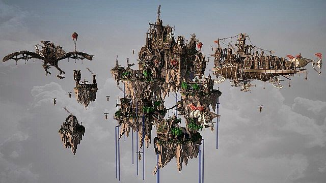 Blackwind Metropolis A City in the Sky floating minecraft building inspiration 7 overview