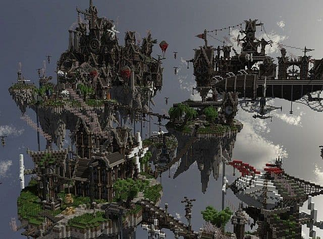 Blackwind Metropolis A City in the Sky floating minecraft building inspiration 9