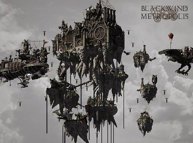 Blackwind Metropolis A City in the Sky floating minecraft building inspiration