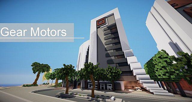 Gear Motors modern car dealership minecraft building ideas