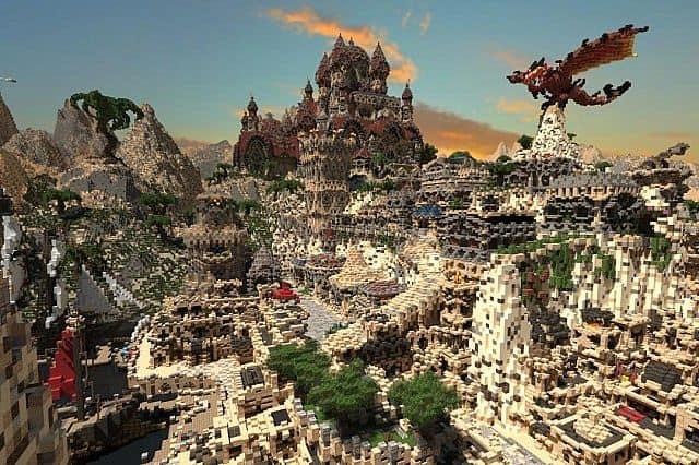 Kingdom of Azerian - Oriental Capital minecraft castle mountain build 2